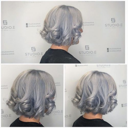 silver hair colouring and cut
